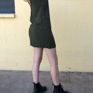olive green slip dress